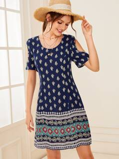 Cold Shoulder Tribal Print Dress