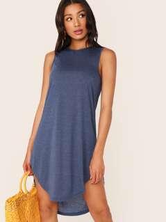 Curved Dip Hem Tee Dress