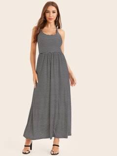 Lace Back Insert Striped Dress