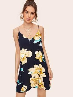 Double V-neck Floral Print Swing Slip Dress