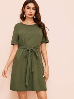 Cuffed Belted Slant Pocket Dress