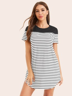 Two Tone Curved Hem Striped Dress