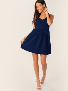 Scalloped Trim Slip Dress