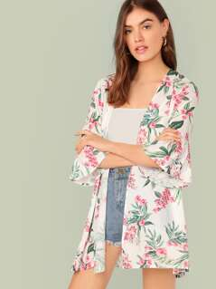 Open Front Bell Sleeve Floral Print Kimono