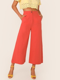 Button Fly Pocket Side Palazzo Pants