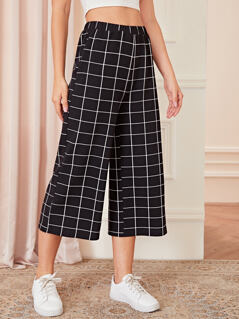 Wide Leg Grid Pants