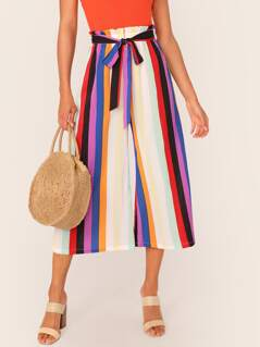 Paperbag Waist Striped Belted Palazzo Pants