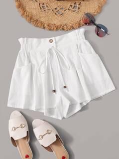 Paperbag Waist Tie Front Pocket Side Shorts