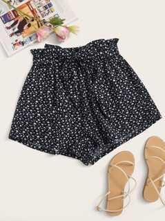 Paperbag Waist Self Belt Ditsy Floral Shorts