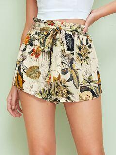 Botanical Print Paperbag Waist Self Belted Shorts