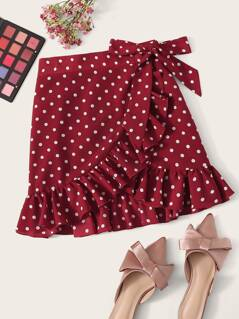 Ruffle Trim Knot Side Wrap Polka Dot Skirt
