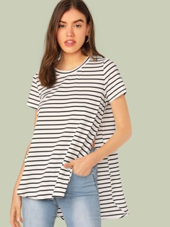 Split Side Curved Hem Striped Top