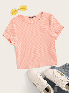 Striped Form Fitting Crop Tee