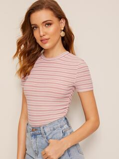 Short Sleeve Rib-knit Striped Top