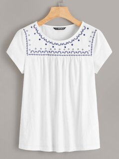 Embroidered Yoke Pleated Top