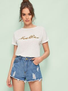 Sequin Patched Tee
