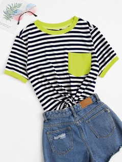 Plus Neon Pocket Patched Striped Ringer Tee
