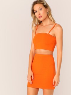 848c897f42 Neon Orange Crop Cami Top & Pencil Skirt Set | MakeMeChic.COM