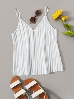 V Neck Vertical Striped Cami Top