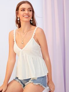 Plunging Neck Peplum Top With Lace Trim Strap
