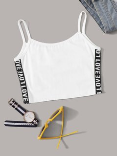 Lettering Tape Side Cami Top