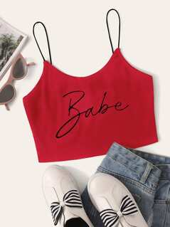 Letter Print Cami Crop Top
