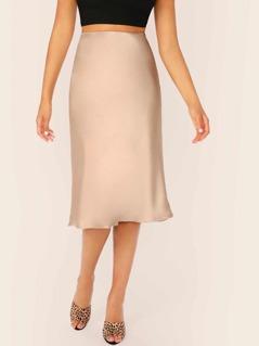 Flounce Hem Side Zipper Satin Midi Skirt