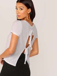 Open Back With Tie Detail Crew Neck T-Shirt