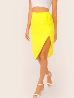 Drawstring Ruched Asymmetric Hem Skirt