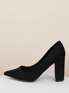 Pointed Toe Chunky Heel Classic Pumps