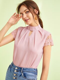 Pleated Keyhole Neck Embroidered Mesh Sleeve Top