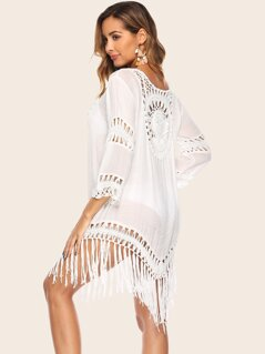 Fringe Hem Cut-out Crochet Insert Cover Up