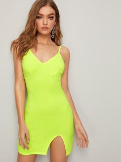 Neon Lime Slit Hem Slip Dress
