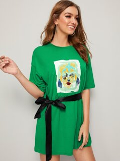Cartoon & Letter Print Belted T-shirt Dress