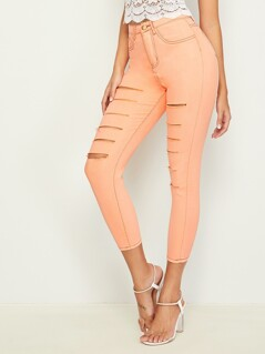 Neon Frayed Trim Contrast Stitch Ripped Jeans