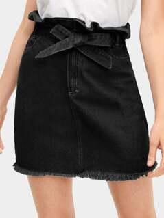 Tie Waist Raw Hem Ruffle Denim Skirt