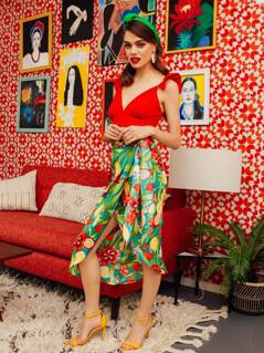 Flower & Fruit Print Wrap Knotted Skirt