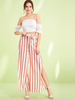 Striped Petal Hem Knotted Pants