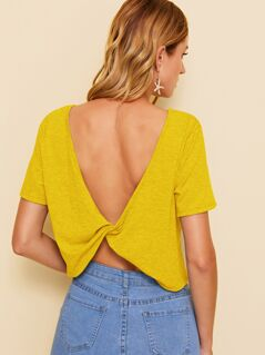 Solid Twist Backless Tee