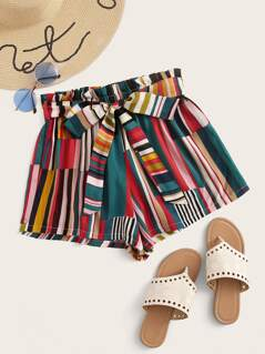 Paperbag Waist Striped Patchwork Belted Shorts