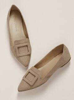 Charm Accent Pointed Toe Slip On Ballet Flats