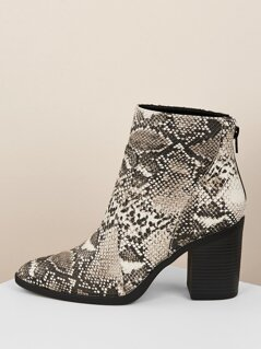Pointed Toe Snakeskin Chunky Heel Ankle Booties