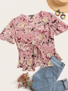 Floral Print Flutter Sleeve Tie Front Top