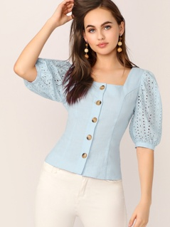 Single Breasted Embroidery Eyelet Sleeve Shirt