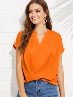 Solid V Neck Wrap Hem Top