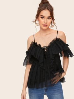 Cold Shoulder Lace Up Front Ruffle Mesh Top