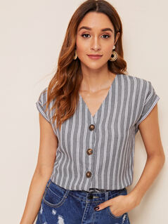Rolled Cuff Button Up Striped Shirt