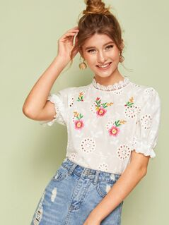 Guipure Lace Neck Embroidery Front Schiffy Top