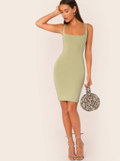 Square Neck Sleeveless Bodycon Mini Dress