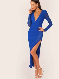 Ruched Side Long Sleeve Mesh V-Neck Maxi Dress